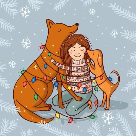 91376547-vector-happy-new-year-illustration-with-girl-and-dogs-with-garlands-and-snow-can-be-used-and-printed.jpg